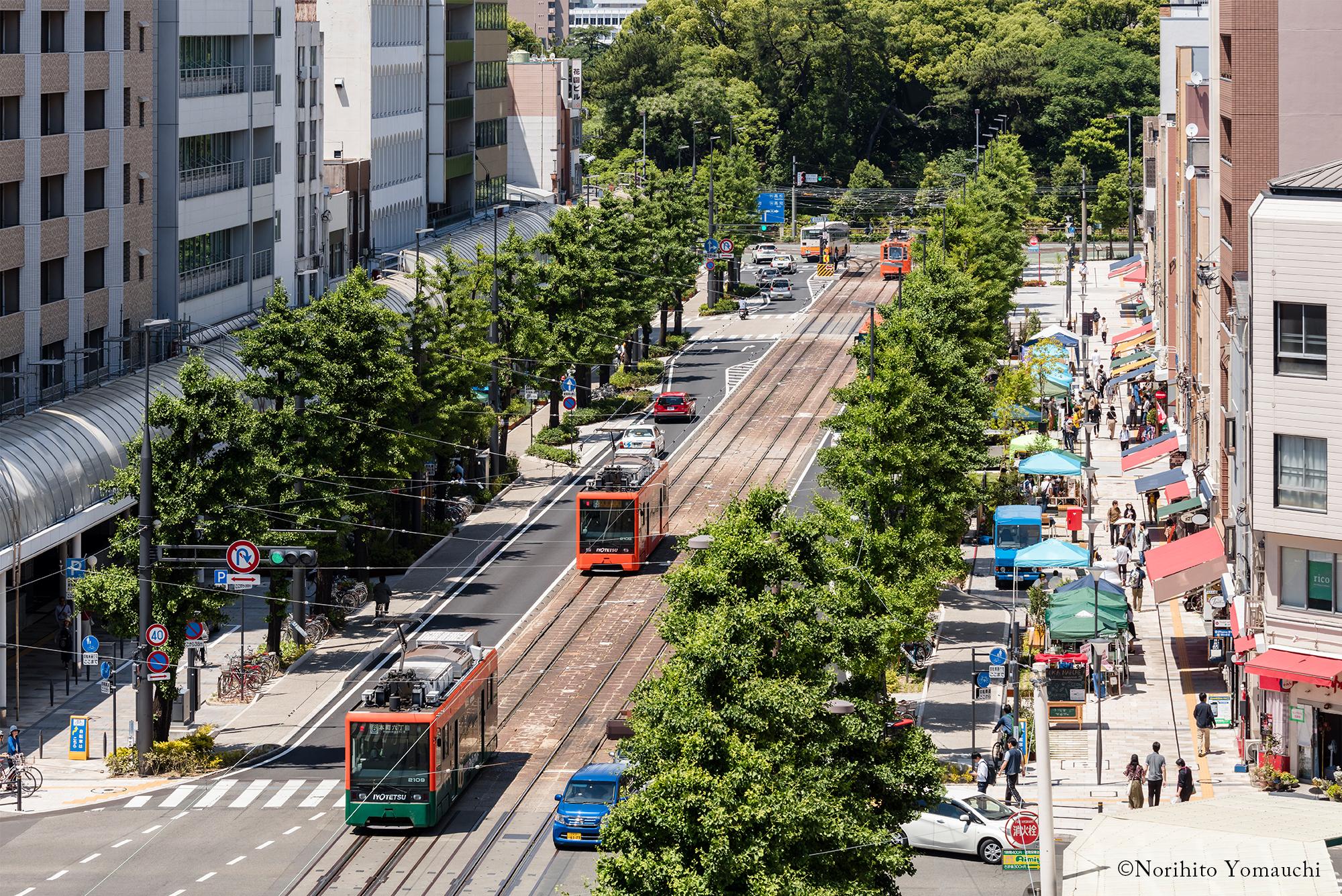 写真:花園町上空で、真ん中に線路、両脇に歩道が見える